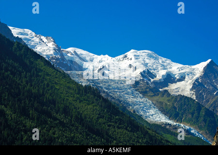View at Mont Blanc Dome du Gouter Aiguille du Gouter Glacier des Bossons Chamonix France - Stock Photo