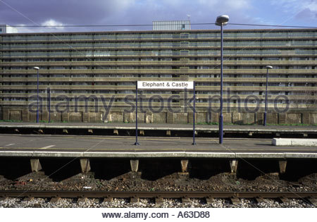 Heygate Estate seen from Elephant and Castle train station London - Stock Photo