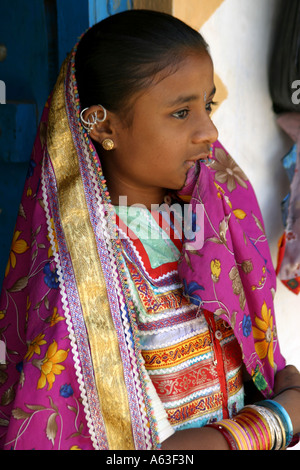 brilliant colors,embroidery and exotic jewellery  are  traditionally worn by Banni tribal women and girls in Gujarat,India - Stock Photo