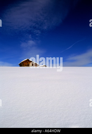snowcovered mountain sheds near village of murren region of bernese highland swiss alpes canton of berne switzerland - Stock Photo