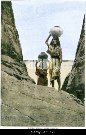 Ancestral Puebloan Anasazi women carrying water in pots up to a mesa top. Hand-colored halftone of an illustration - Stock Photo