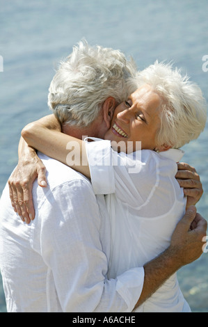 happy senior citizen couple on holiday - Stock Photo