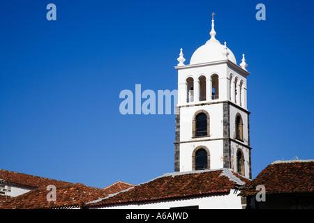 Iglesia Matriz de Santa Ana from Plaza Juan Gonzalez de la Torre in the Old Town of Garachico Tenerife Canary Islands - Stock Photo