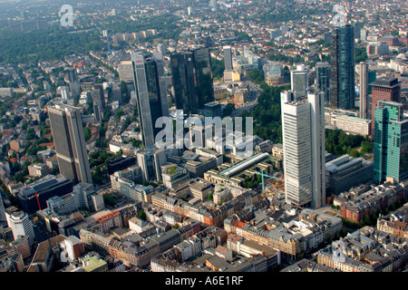 DEU, Germany Frankfurt bank town center from above with all important bank skyscrapers, on the left of in front - Stock Photo