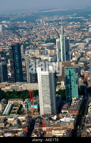 DEU, Germany Frankfurt bank town center from above with all important bank skyscrapers, in front two Dresdner bank - Stock Photo