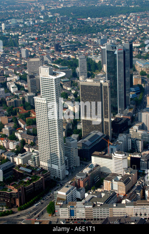 DEU, Germany Frankfurt bank town center from above with all important bank skyscrapers, on the left in front the - Stock Photo