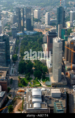 DEU, Germany Frankfurt bank town center from above with important bank skyscrapers, on the left in front Gallileo, - Stock Photo