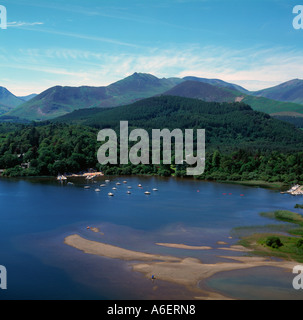 Derwent Water in the Lake District UK aerial view - Stock Photo