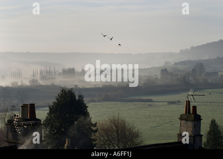 Batheaston BANES UK A view over Bathampton water meadows from cottages in The Batch - Stock Photo
