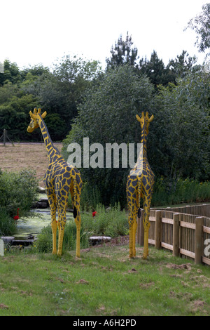 Lego giraffe figures on Orient Expedition steam engine train ride in Legoland - Stock Photo