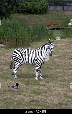 Lego zebra figure on Orient Expedition steam engine train ride in Legoland - Stock Photo