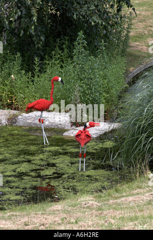 Lego flamingo figures on Orient Expedition steam engine train ride in Legoland - Stock Photo