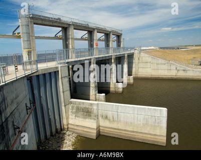 Lake Okeechobee gate S 308 floodgates Port Mayaca C 44 canal dam South Florida flood control - Stock Photo