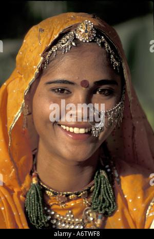 India, Rajasthan, Jaipur, Rajasthani folk dancer, Rambagh Palace,  (MR) - Stock Photo
