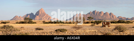 Spitzkoppe mountains with tin hut- Erongo Matterhorn of Namibia Africa - Stock Photo