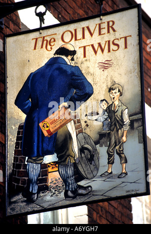 Oliver Twist (1838) is Charles Dickens' second novel. pub bar - Stock Photo