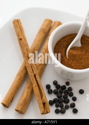 Cinnamon nutmeg and juniper berries - high end Hasselblad 61mb digital image - Stock Photo