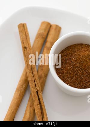 Cinnamon sticks and grated nutmeg - high end Hasselblad 61mb digital image - Stock Photo