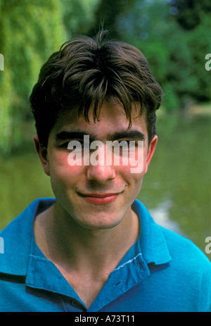 1, one, French teen, French teenage boy, French teenager, young adult man, French student, headshot, Verneuil-sur - Stock Photo
