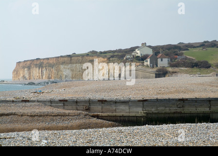 Cuckmere Haven, East Sussex, England. The River Cuckmere meets the English Channel. - Stock Photo