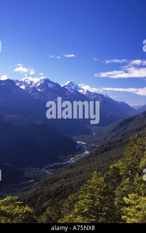 The Hollyford Valley Fiordland National Park South Island New Zealand - Stock Photo