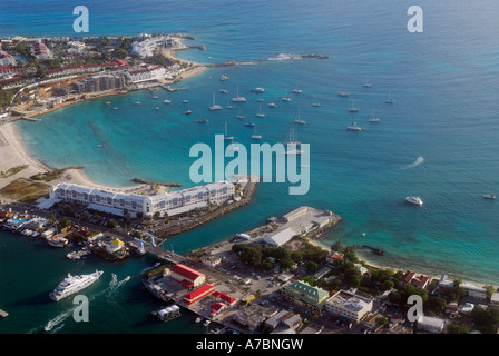 Aerial view of the Simpson Bay Bridge in St Maarten Netherlands Antilles  Port de Plaisance with sail boats - Stock Photo