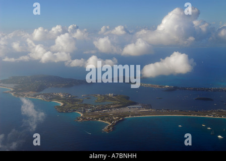 Aerial view of the Simpson Bay Lagoon in Sint Maarten Dutch side Netherlands Antilles Caribbean Island with puffy - Stock Photo