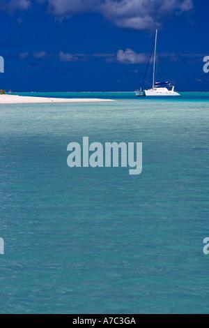 Sailboats inside the lagoon of Bora Bora French Polynesia - Stock Photo