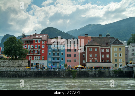 Colourful houses along the banks of the River Inn Kuftstein Austria - Stock Photo