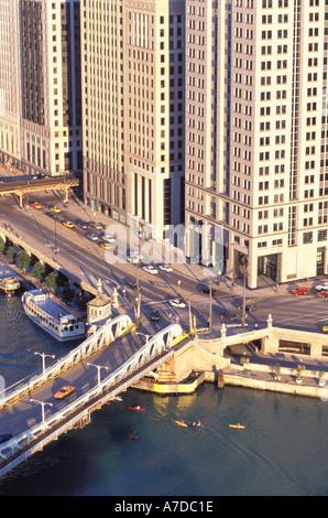 Kayaking on Chicago river downtown Chicago Illinois - Stock Photo