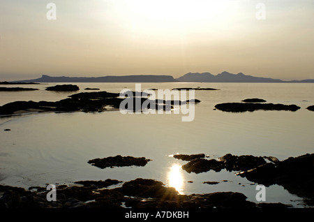 Arisaig & Isles of Rum Sunset in the Inner Hebrides Inverness-shire Highland Region Scotland.   XPL 6340 - Stock Photo