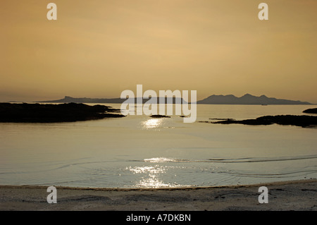 Arisaig & Isles of Rum Sunset in the Inner Hebrides Inverness-shire Highland Region Scotland. - Stock Photo