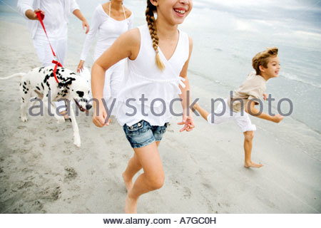 A family walking the dog on a beach - Stock Photo