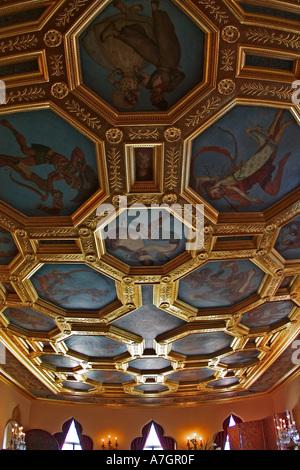 Ceiling details, Interior of Ca d Zan Mansion home of John & Marble Ringling, Sarasota, Florida - Stock Photo