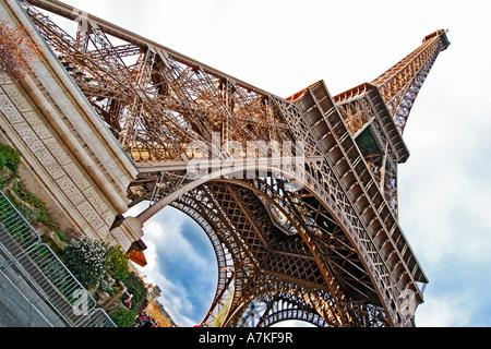 Eiffel Tower, Paris, France, shot during dusk, diagonal. - Stock Photo