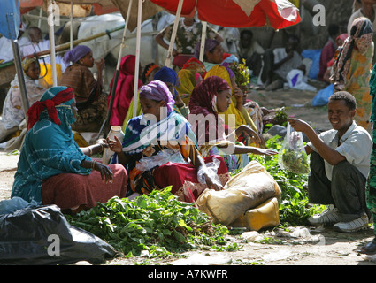 Ethiopia - women selling Chat at the Chat market in Dire Dawa - Stock Photo