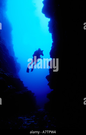 France, Corse du Sud, diver in a deep Canyon, underwater view - Stock Photo