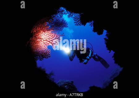 France, Corse du Sud, diver entering into a cave, underwater view - Stock Photo