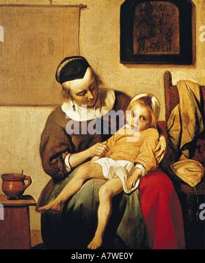 fine arts, Metsu, Gabriel (1629 - 1667), 'The Sick Child', painting, circa 1660, oil on canvas, 33x27 cm, Rijksmuseum - Stock Photo