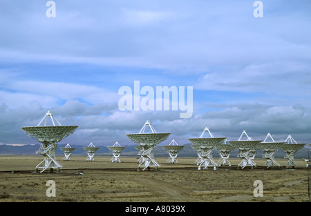 New Mexico, Socorro. Part of the Very Large Array radio telescope of the National Radio Astronomy Observatory - Stock Photo