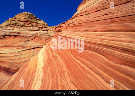 Swirling sandstone at The Wave in the Coyote Buttes area Paria Plateau Paria Canyon Vermilion Cliffs Wilderness - Stock Photo