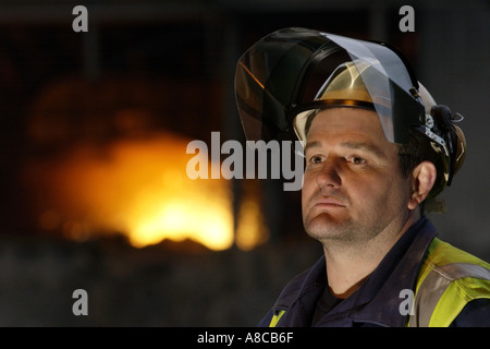 Steelworker at the relighting of blast furnace No5 Corus Port Talbot after the 2001 explosion South Wales UK - Stock Photo