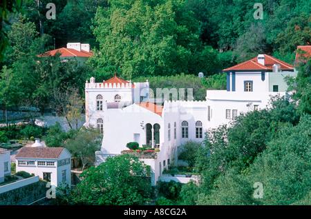 Portugal, Algarve: View to the thermal village Caldas de Monchique - Stock Photo