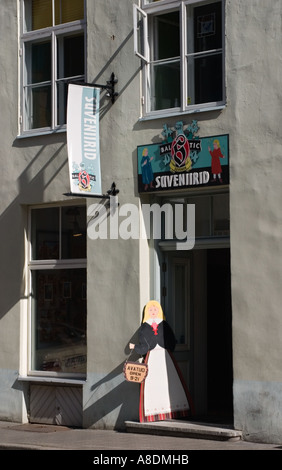Entrance to souvenir shop Vene Street Tallinn Estonia - Stock Photo