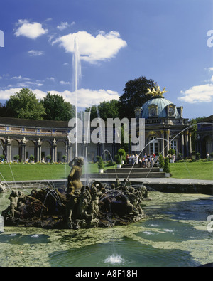 geography / travel, Germany, Bayreuth, Erimitage, sun temple, Neues Schloss, fountain, Europe, trick fountains, - Stock Photo