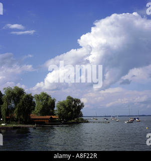 geography / travel, Germany, Bavaria, landscapes, Chiemsee, Frauenchiemsee, view towards lake, Europe, landscape, - Stock Photo