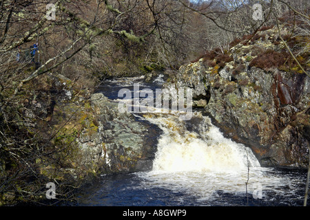 Falls of Shin near Lairg in Northern Scotland - Stock Photo
