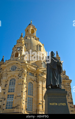 Statue of Martin Luther in front of Frauenkirche in Neumarkt central Dresden Germany Europe - Stock Photo