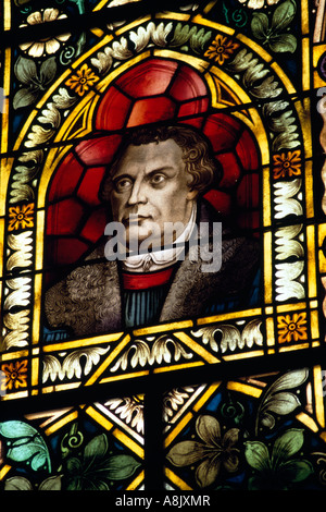 Martin Luther Portrait in window of Protestant Church in Luederitz Namibia - Stock Photo
