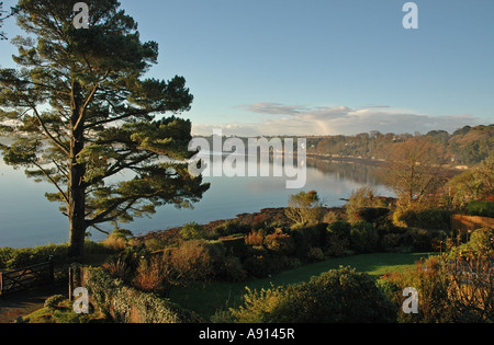 View from Loe Beach, Feock, Cornwall looking towards Restronguet Point - Stock Photo